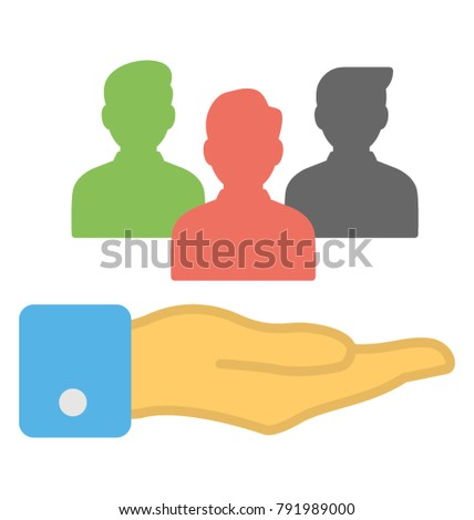 Hand holding people diagram, business planning and resource allocation concept vector icon in flat design