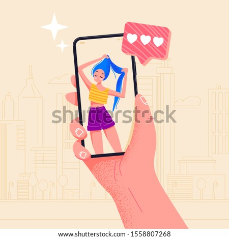 Hand holding phone beautiful girl on screen. Video call app. Finger touch screen flat vector illustration design for web site or banner. Make selfie with smartphone. Online dating chat or take photo.