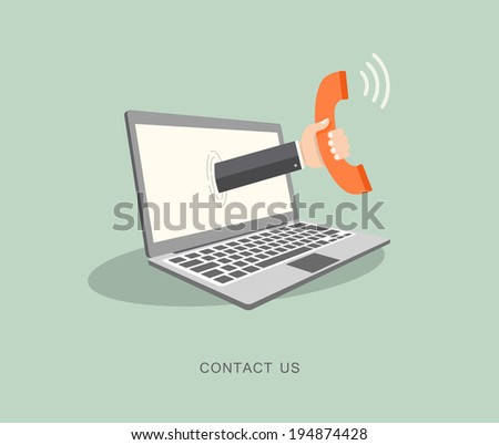 Hand holding phone coming out from laptop Contact us flat illustration