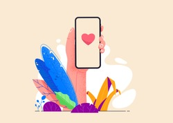 Hand holding phone in exotic tropical jungle eco friendly environment. Sending love messages on smartphone vector illustration in flat design. Chatting with friends. Social media addiction.