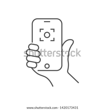 Hand holding phone, selfie icon. Trendy icon selfie on smartphone. Vector illustration. Editable Stroke. EPS 10