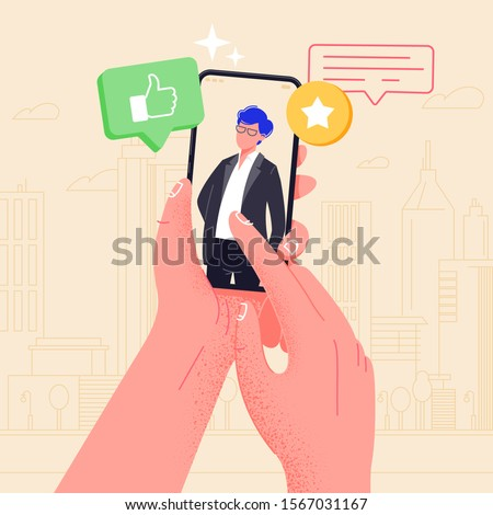 Hand holding phone with boyfriend on screen. Video call app. Finger touch screen flat vector illustration design for web site or banner. Make selfie with smartphone. Online dating chat or take photo.