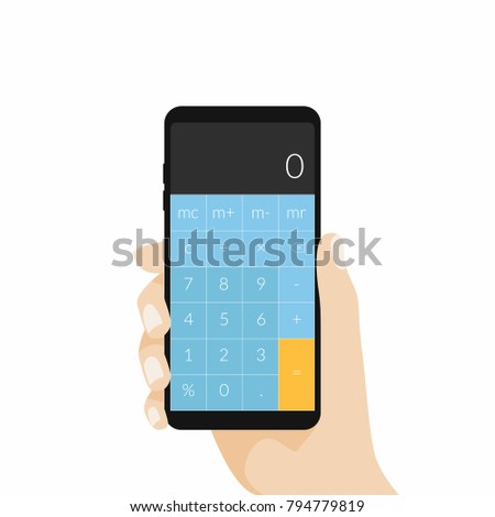 Hand holding phone with calculator app. vector