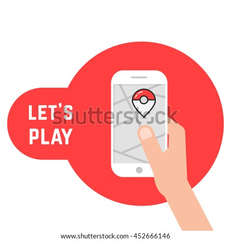 Stock Photo hand holding phone with game. concept of go party, exciting, ar, adornment, competition, old game, trainer, equipment. flat style trend modern logotype design vector illustration on white background