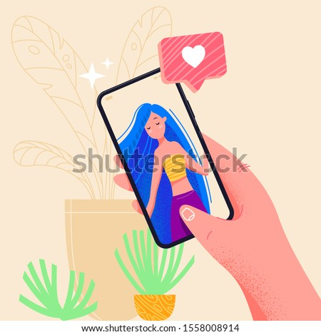 Hand holding phone with girlfriend on screen. Video call app. Finger touch screen flat vector illustration design for web site or banner. Make selfie with smartphone. Online dating chat or take photo.
