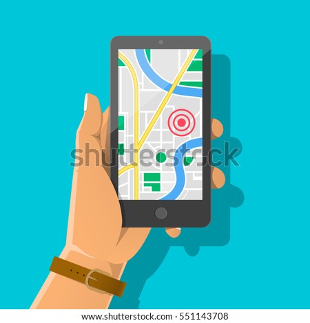 Hand holding phone with map and marker. Mobile gps navigation and tracking concept. Flat vector cartoon illustration. Location track app on touch screen smartphone