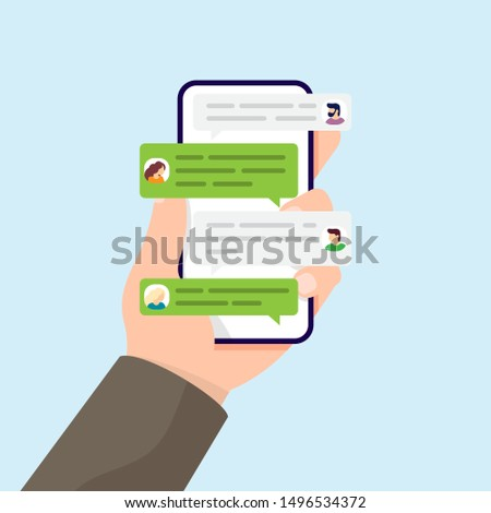 Hand holding phone with messages and group chatting messaging using chat app or social network on mobile phone. Vector illustration