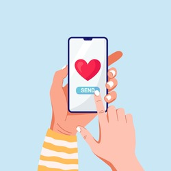Hand holding phone with red heart. Sending love messages on smartphone. Chatting with friends. Social media addiction. Vector illustration
