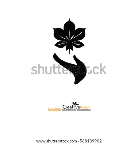 Hand holding plant. Growth concept.vector illustration.