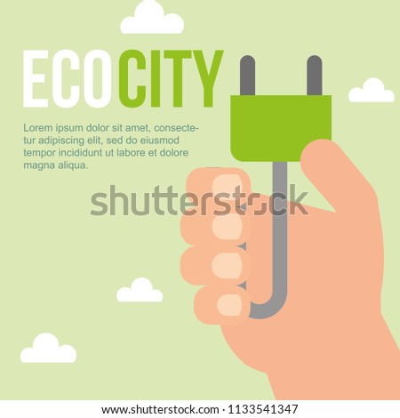 hand holding plug eco city sustainable