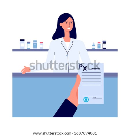 Hand holding prescription rx form in pharmacy or drugstore with pharmacist at counter, flat cartoon vector illustration. Online pharmacy or drugstore background.