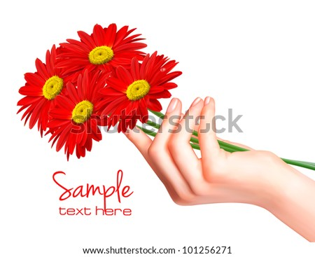 Hand holding red flowers. Vector.
