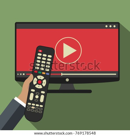 Hand holding remote control. TV icon concept. Play icon on television. Smart TV concept. Flat vector illustration