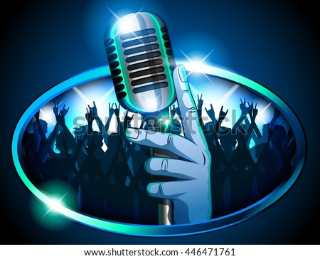 hand holding retro mic
