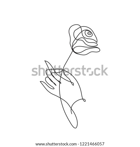 Hand holding rose flower. Cotiniuous line drawing