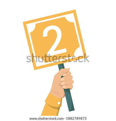 Hand holding scorecard with number 2 vector isolated. Jury showing result. Judge showing sign with a low score. Foto stock ©