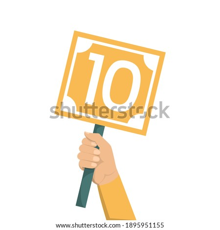 Hand holding scorecard with number 10 vector isolated. Jury showing result. Judge showing sign with a score. Foto stock ©