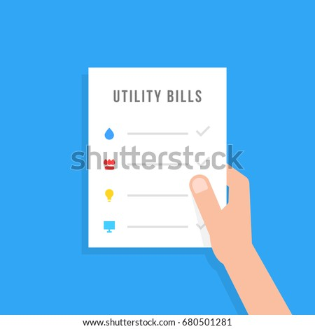 hand holding sheet with utility bills. simple flat style trend modern graphic creative design. concept of check transaction of money for house rent or contract document for tenant or renter