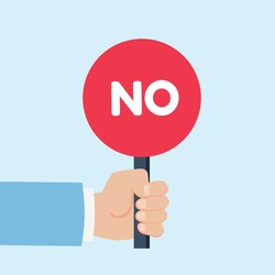 Hand holding sign with the word No. Placard Yes or No. Votes concept. Disagree, agree, feedback. Vector stock