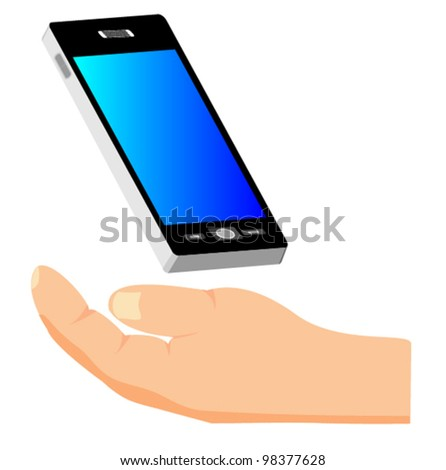 Hand holding smart phone - stock vector