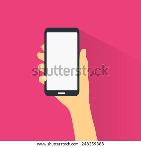 Hand holding smart phone flat design.