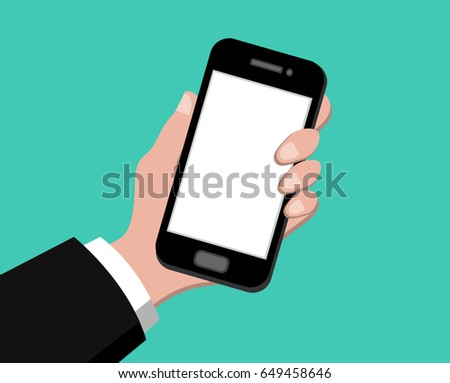 Hand holding smart phone on green background, flat design mobile vector