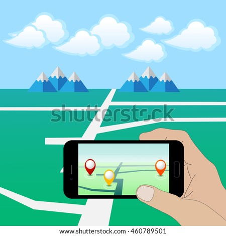 hand holding smart phone play