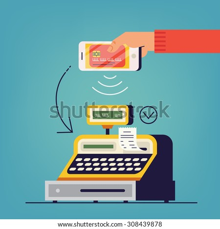 Hand holding smart phone with online payment electronic wallet application at cashier counter of retail store | Ecommerce concept design on instant contactless payment transfer using credit card data
