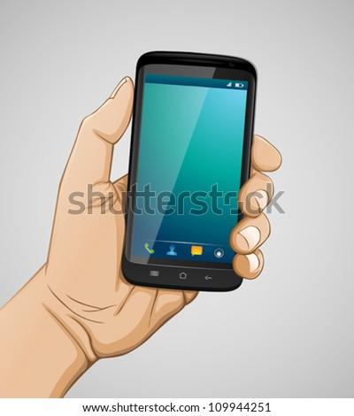 Hand holding smartphone