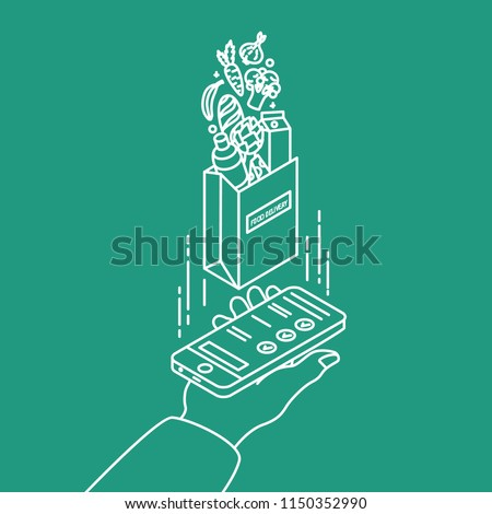 Hand holding smartphone and paper bag with products drawn with contour lines on green background. Food delivery service or online grocery store. Modern vector illustration in creative lineart style