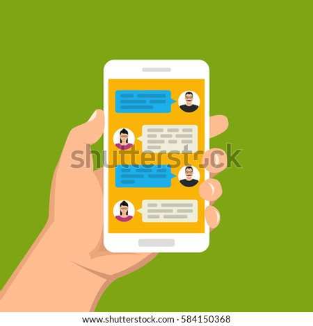 Hand holding smartphone and touching screen with text messaging. Male and female icon in chat. Vector flat illustration.