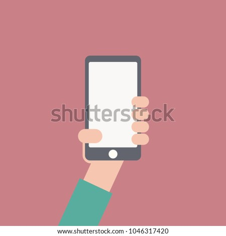 Hand holding smartphone . Flat design