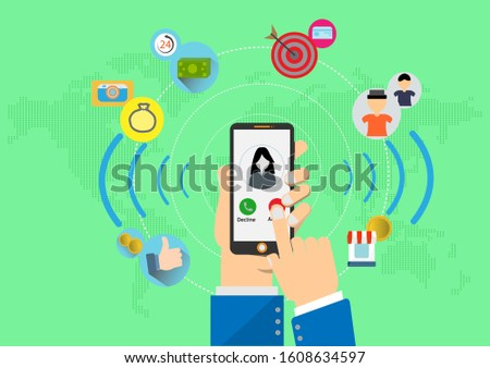Hand holding smartphone.He is use mobile phone calling with icon.world map,Calling service,contact,technology,Vector communicate and flat design vector.