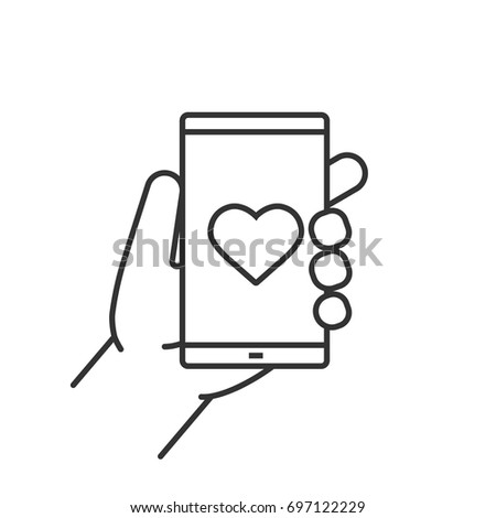 Hand holding smartphone linear icon. Thin line illustration. Smart phone dating app. Contour symbol. Vector isolated outline drawing