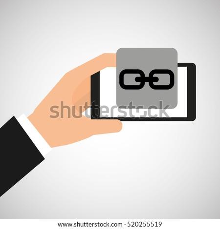 hand holding smartphone link web vector illustration eps 10
