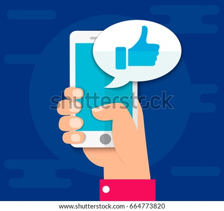 Hand holding smartphone. Thumbs up icon. Social network, social media usage on mobile device. Concept for websites, web banner. Flat design vector illustration. EPS10