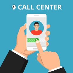 Hand holding smartphone to call customer support. Male avatar on the screen. Callcenter consept. Vector flat illustration.