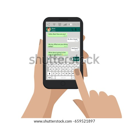 Hand holding smartphone, touching screen and write message in social network. Vector. Keyboard of mobile phone, alphabet buttons. Messenger window. Chating and messaging concept. Green chat boxes.