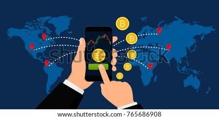 Hand Holding Smartphone with Bitcoin Currency. Crypto Currency Concept. Vector illustration. Flat design. EPS 10.