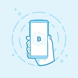 Hand holding smartphone with bitcoin currency. Online bitcoin business concept. vector