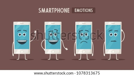 Hand holding smartphone with blank screen. Vector cartoon illustration. New mobile phone #1078313675