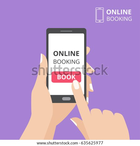 Hand holding smartphone with book button on screen. Concept of online booking mobile application. Flat design vector illustration