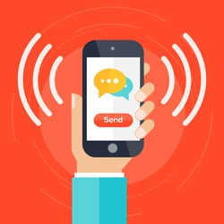 Hand holding smartphone with bubble, call and send message via sms chat with internet wifi. Communication concept. A contemporary style with colorful palette, red background. Vector flat illustration