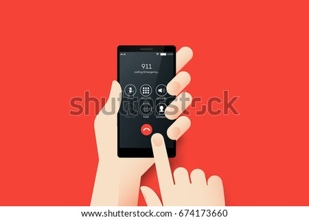 Hand Holding Smartphone With Emergency Call 911 On The Screen. Material Design Vector Illustration.
