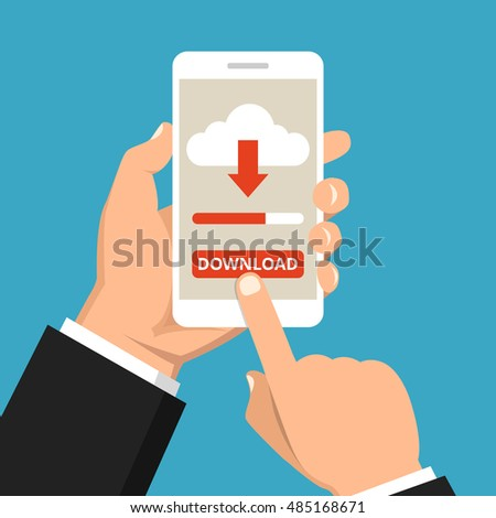 Hand holding smartphone with file download button on the screen. Downloading process concept. Flat vector illustration. stock photo