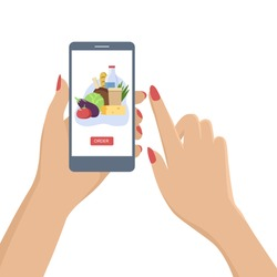 Hand holding smartphone with food delivery app. Flat vector illustration.