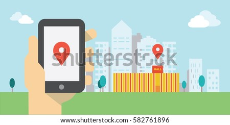 Hand holding smartphone with navigator and store location on screen. Mobile navigation, gps navigator, route concepts. Urban landscape flat illustration.