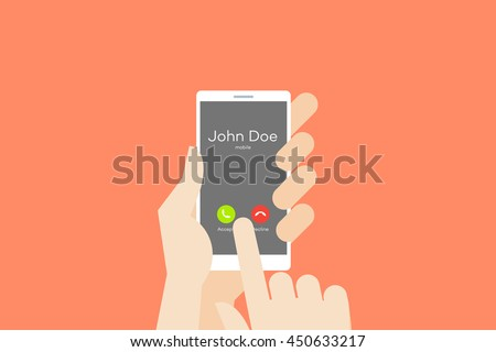 Hand holding smartphone with one finger over touchscreen. Flat vector conceptual illustration with incomming call on the screen.