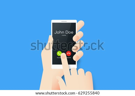 Hand Holding Smartphone With One Finger Over Touchscreen. Material Design Vector Illustration With Incoming Call On The Screen