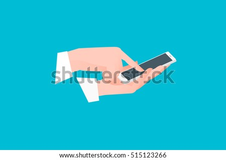 Hand holding smartphone with one finger over touchscreen. Side view. Flat vector conceptual illustration.